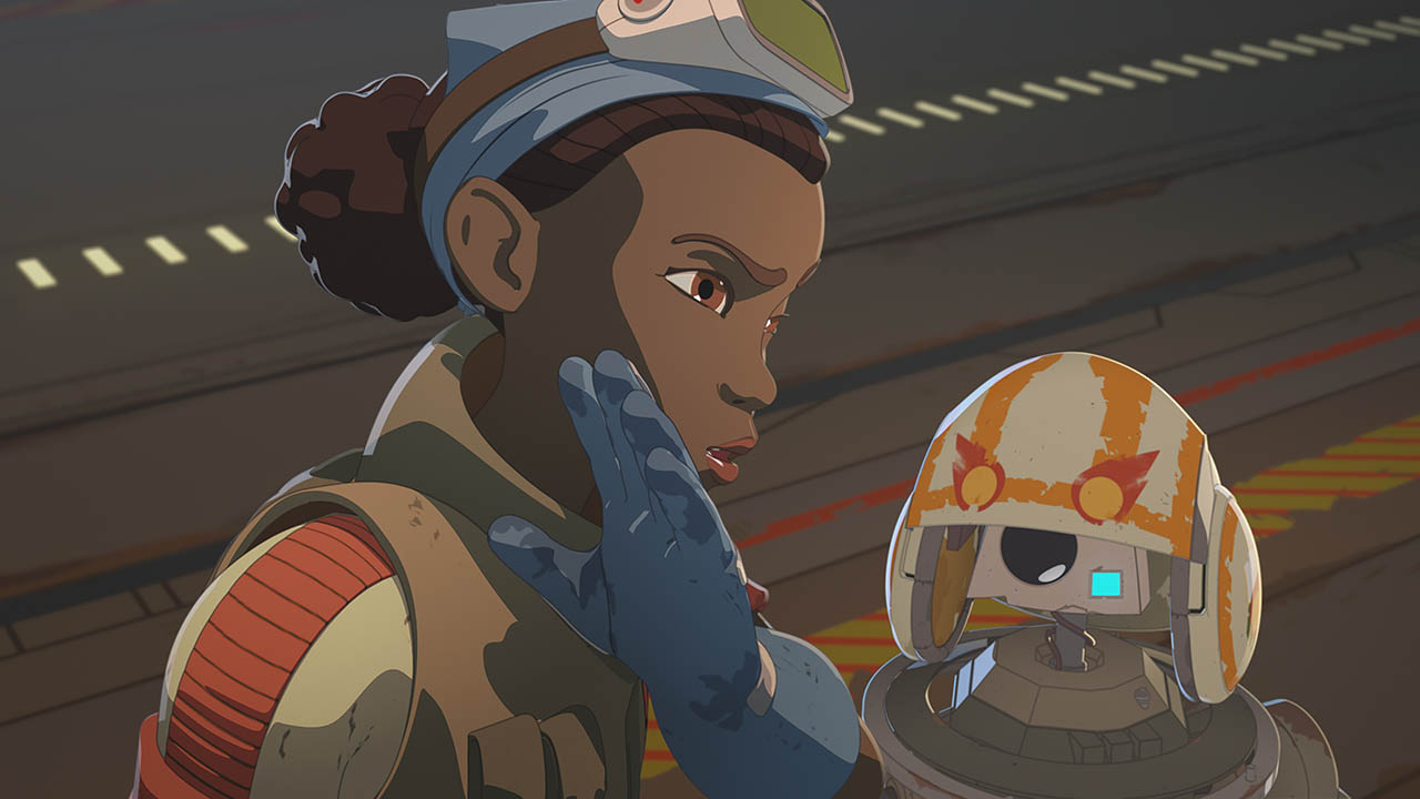 Tam and Bucket are seen in a scene from Star Wars Resistance.