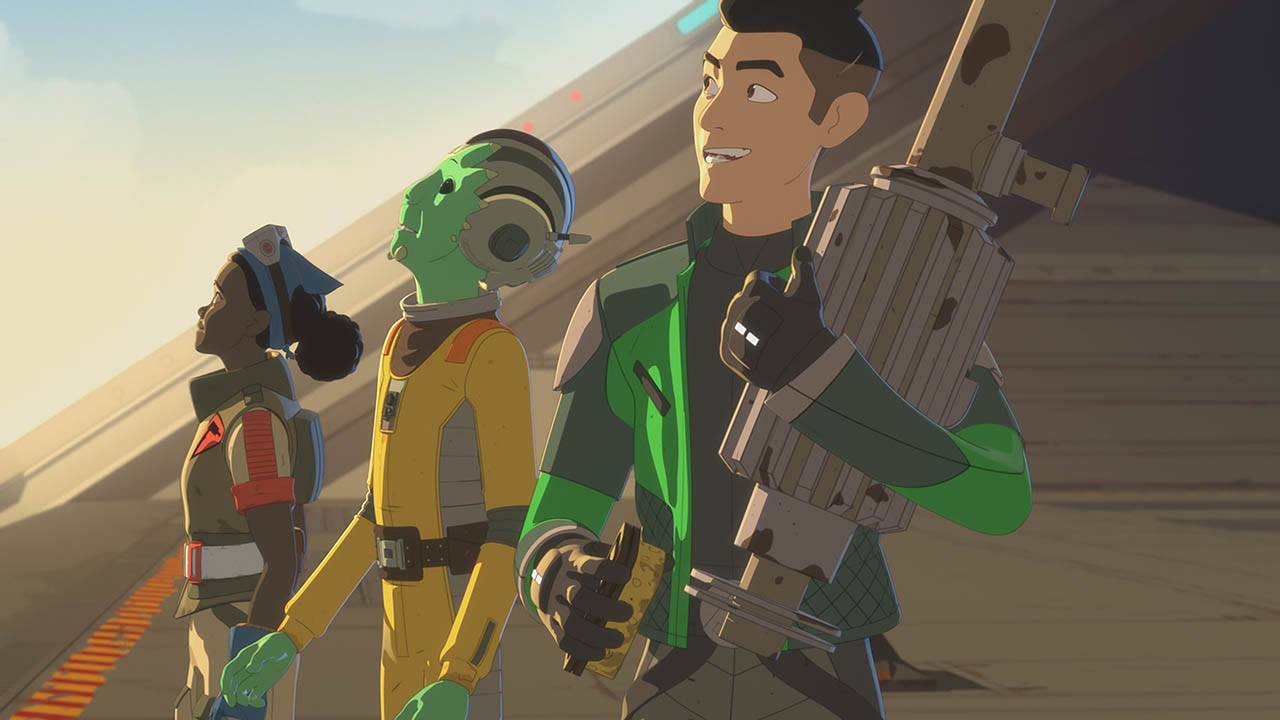 Tam and Team Fireball are seen in a scene from Star Wars Resistance.