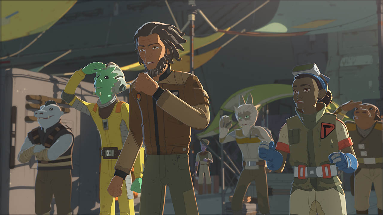 Tam and some of Team Fireball are seen in a scene from Star Wars Resistance.