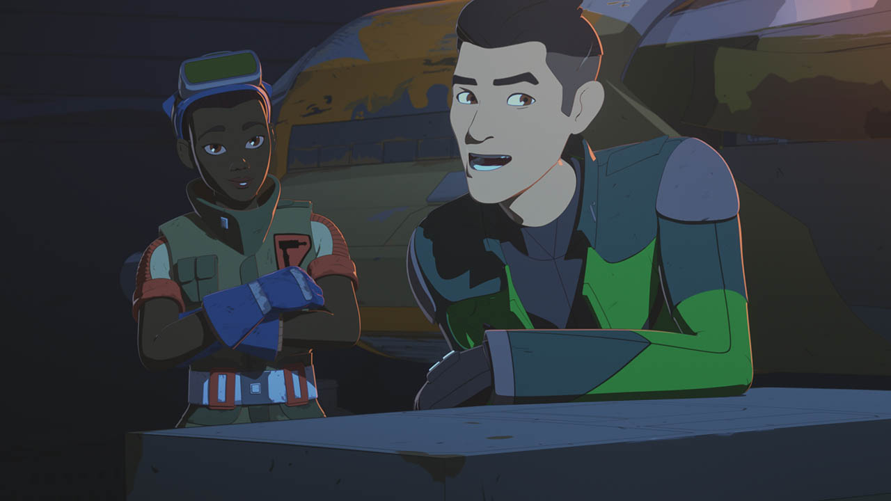 Tam and Kaz are seen in a scene from Star Wars Resistance.