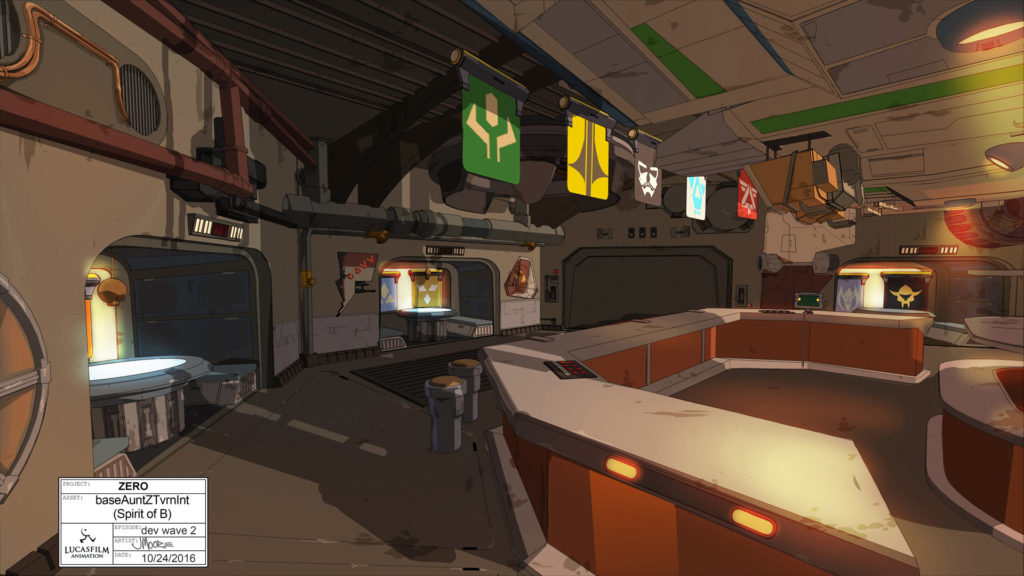 Concept art of Aunt Z's Tavern from Star Wars Resistance.