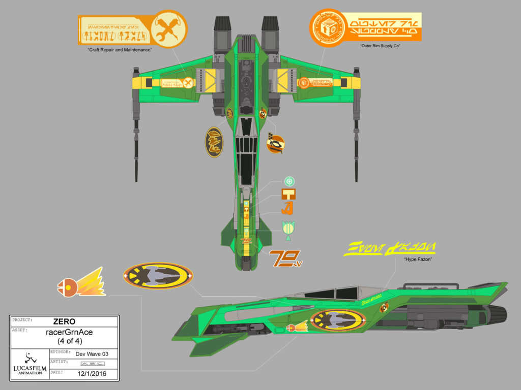 Concept art of the Green Ace from Star Wars Resistance.