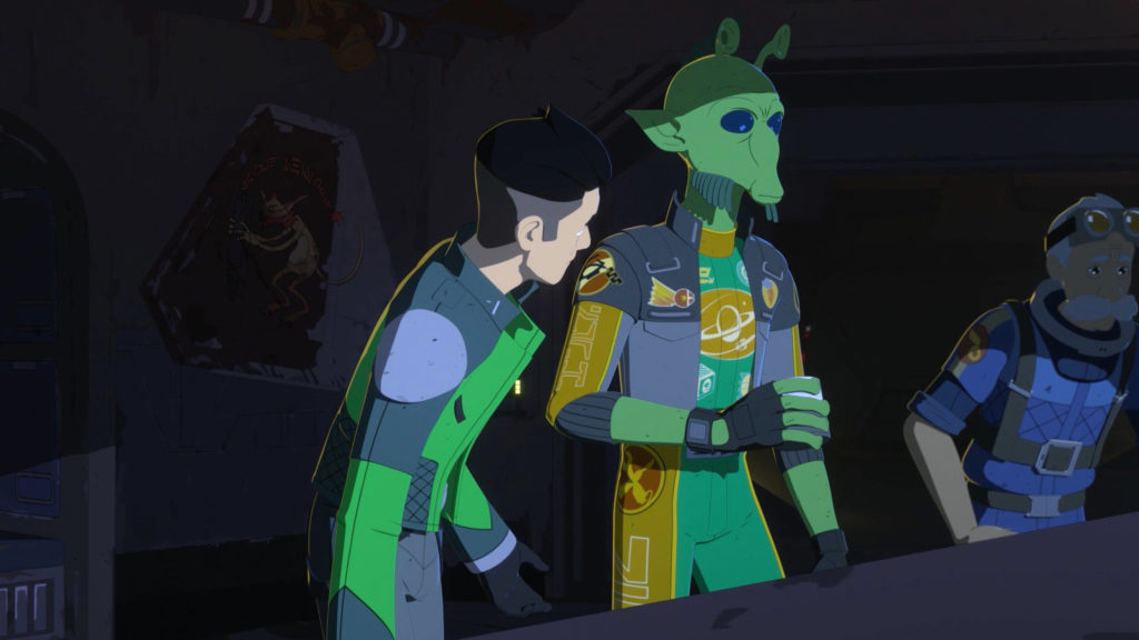 Kaz and Neeku in Aunt Z's, an old Republic gunship fuselage on the wall behind them sporting a monkey-lizard, in Star Wars Resistance.