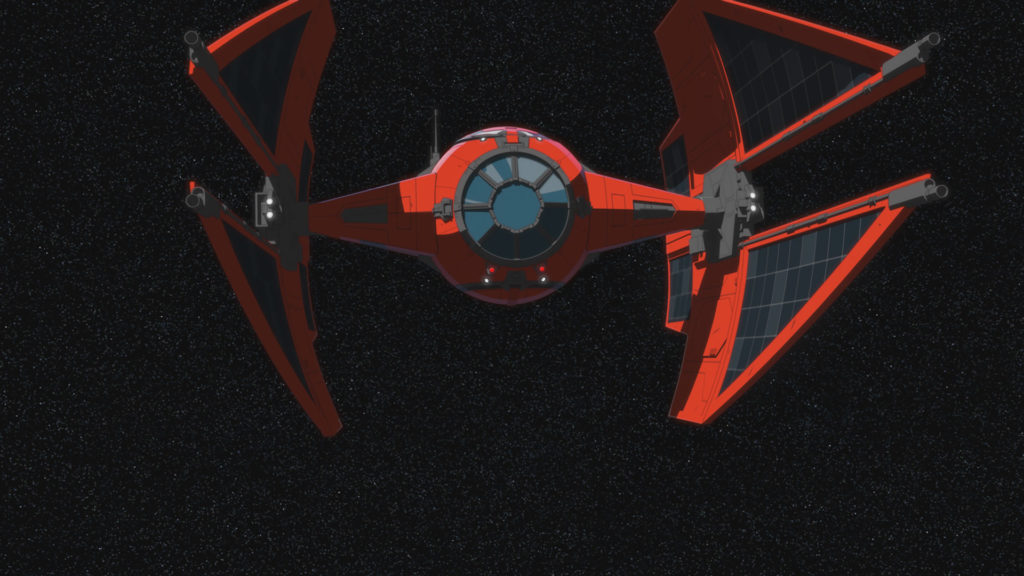 Vonreg's TIE fighter in Star Wars Resistance.
