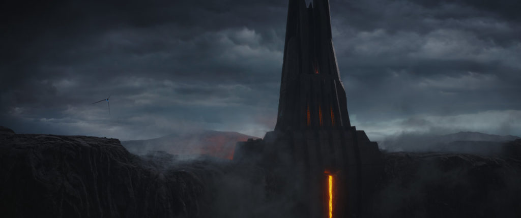 Darth Vader's castle on Mustafar in Rogue One: A Star Wars Story.