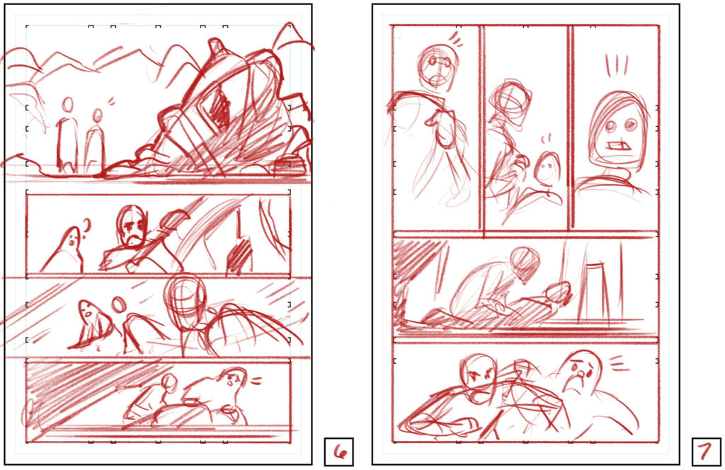 Corin Howell's rough layouts for pages 6-7 of Tales from Vader's Castle #3.