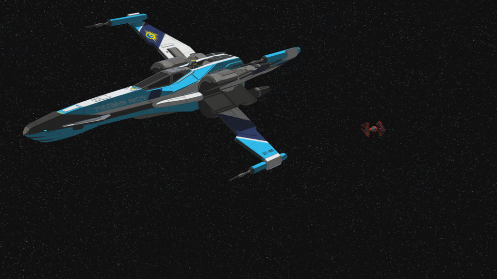 A T-85 X-wing in Star Wars Resistance.