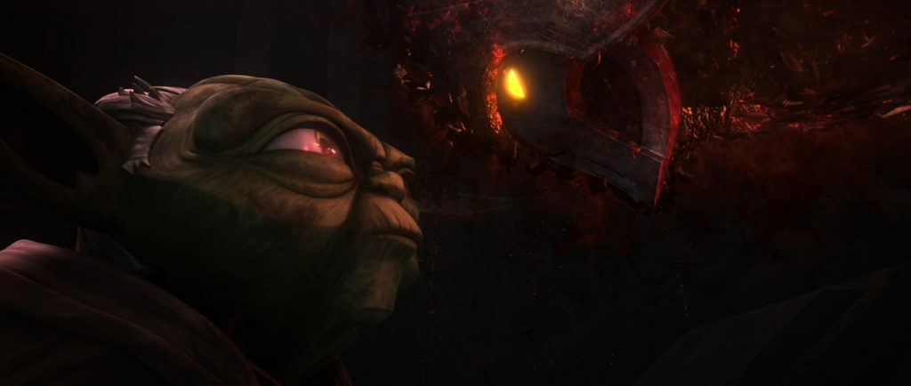 Yoda faces the spectre of Darth Bane on Moraband in Star Wars: The Clone Wars.
