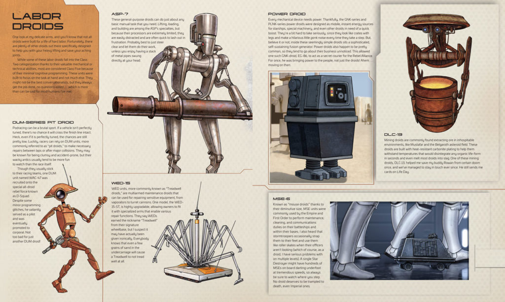 Star Wars: Droidography labor droid spread.