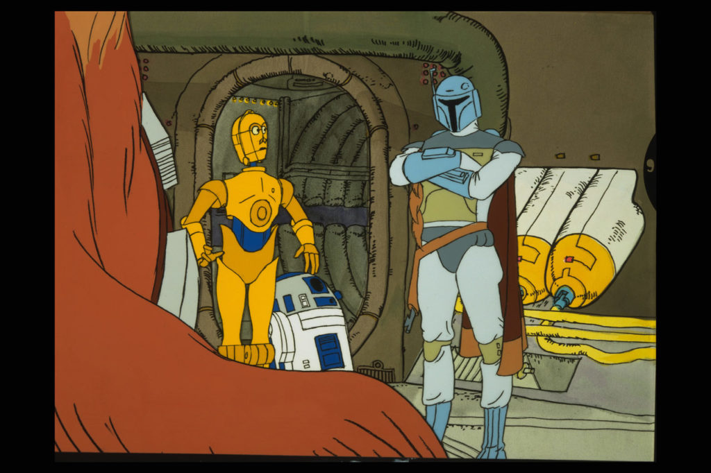 Bob Fett with C-3PO, R2-D2, and Chewbacca in The Star Wars Holiday Special.