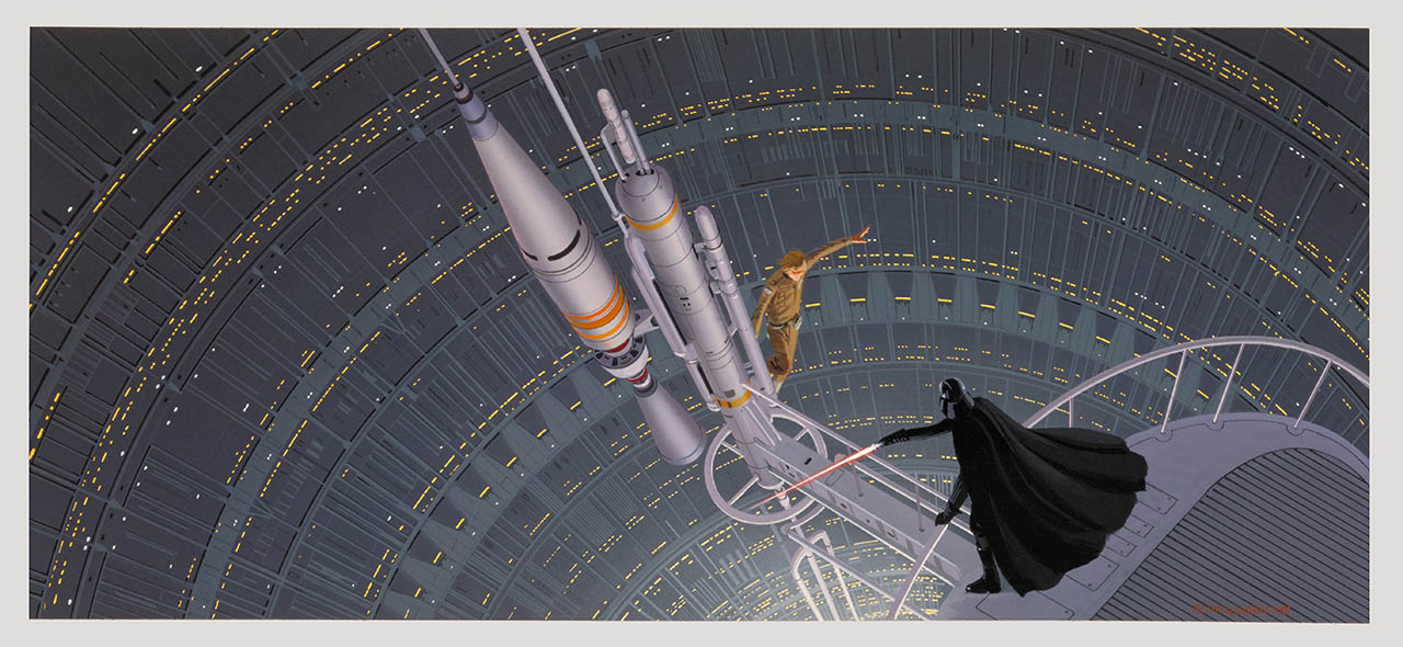 Darth Vader and Luke Skywalker on the gantry in the reactor shaft in the Cloud City of Bespin.