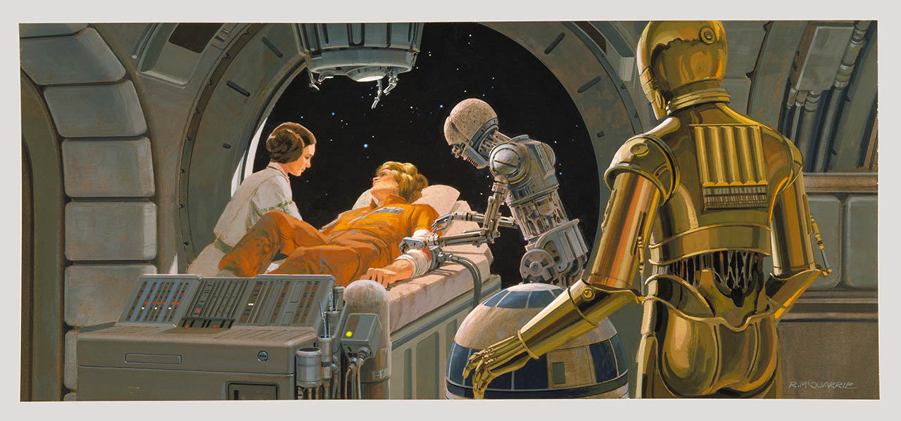 Princess Leia and the injured Luke Skywalker with a medical droid and C-3PO aboard the Medical Frigate.