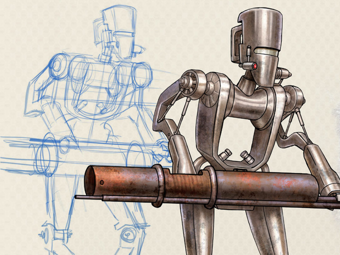 Star Wars: Droidography worker droid art.