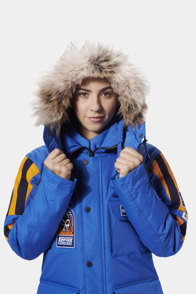 Female model wearing Columbia's Star Wars: Empire Crew Parka.