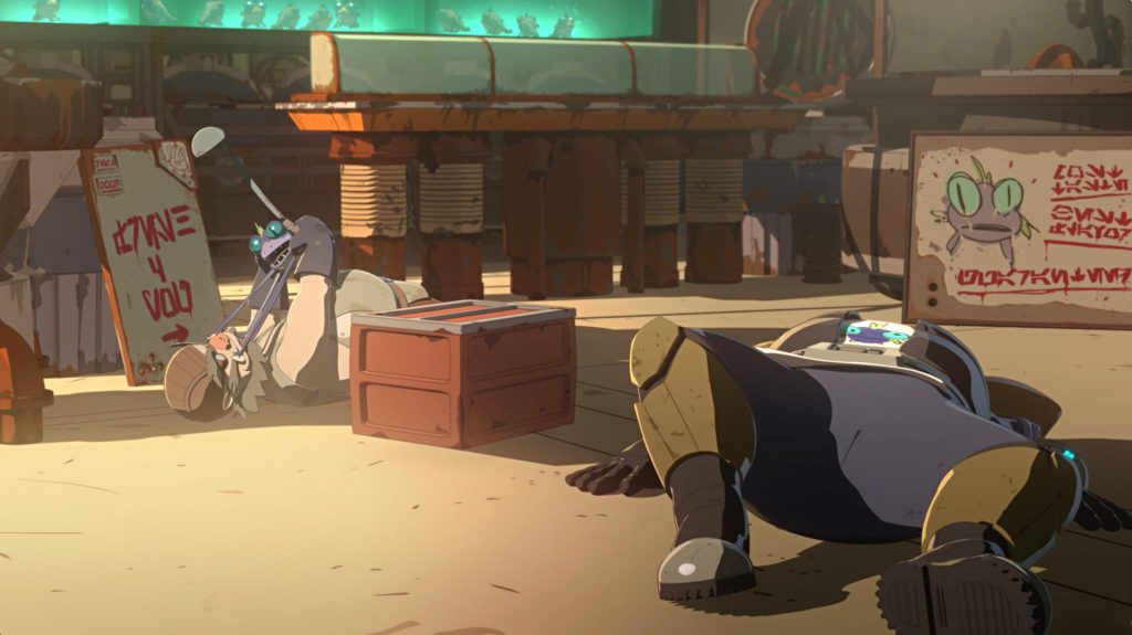 An ugnaught vendor struggles with a gorg in Star Wars Resistance.