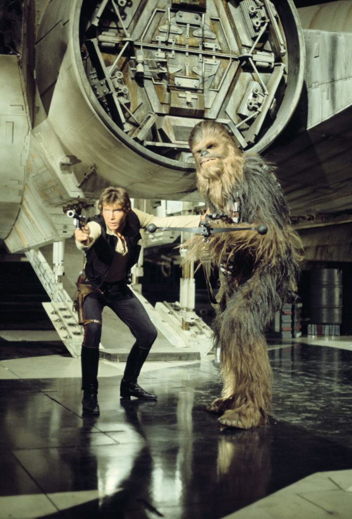 Photo shoot of Han Solo and Chewbacca from Star Wars: A New Hope, from the book Star Wars Icons: Han Solo.