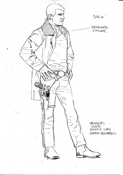 Concept sketch of Han Solo from Star Wars: The Force Awakens, from the book Star Wars Icons: Han Solo.