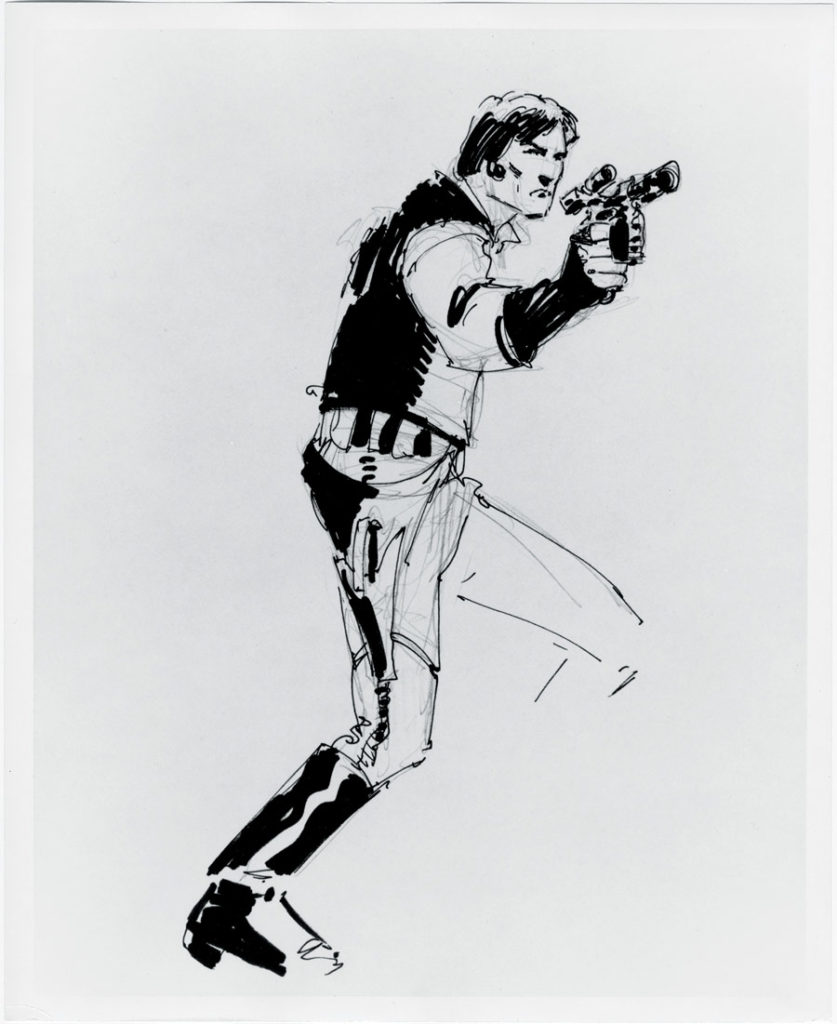 Howard Chaykin sketch of Han Solo, from the book Star Wars Icons: Han Solo.