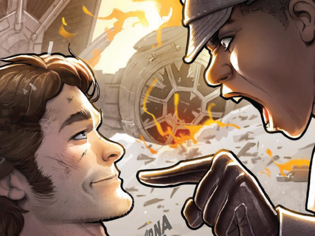 A commanding officer berates Han Solo on the cover of Marvel's Han Solo: Imperial Cadet #1.