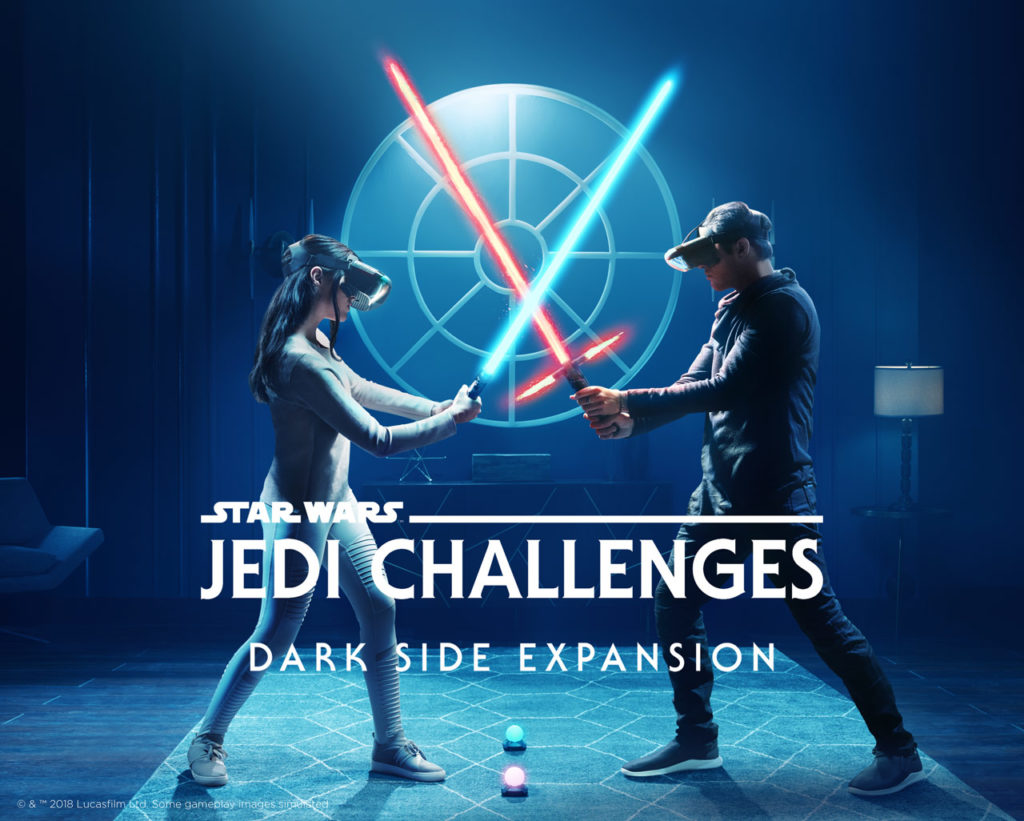 Two players duel in the augmented reality experience Star Wars: Jedi Challenges Dark Side Expansion.
