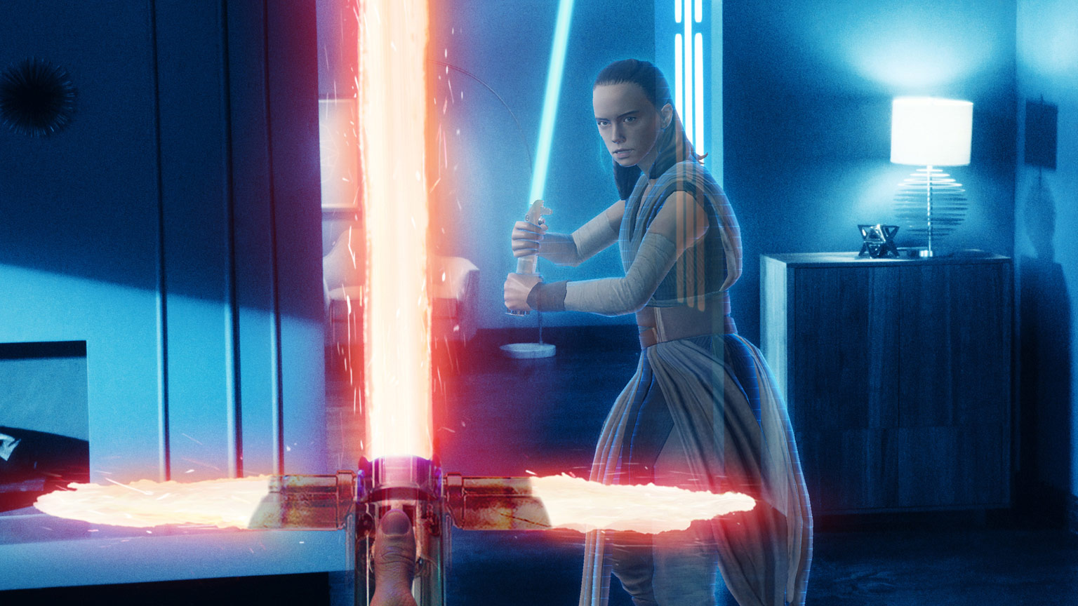 Battling Rey with a Kylo Ren lightsaber in Star Wars: Jedi Challenges Dark Side Expansion.