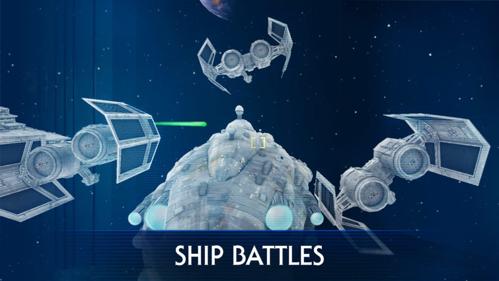 TIE fighters surround a Mon Calamari cruiser in Ship Battles from Star Wars: Jedi Challenges Dark Side Expansion.
