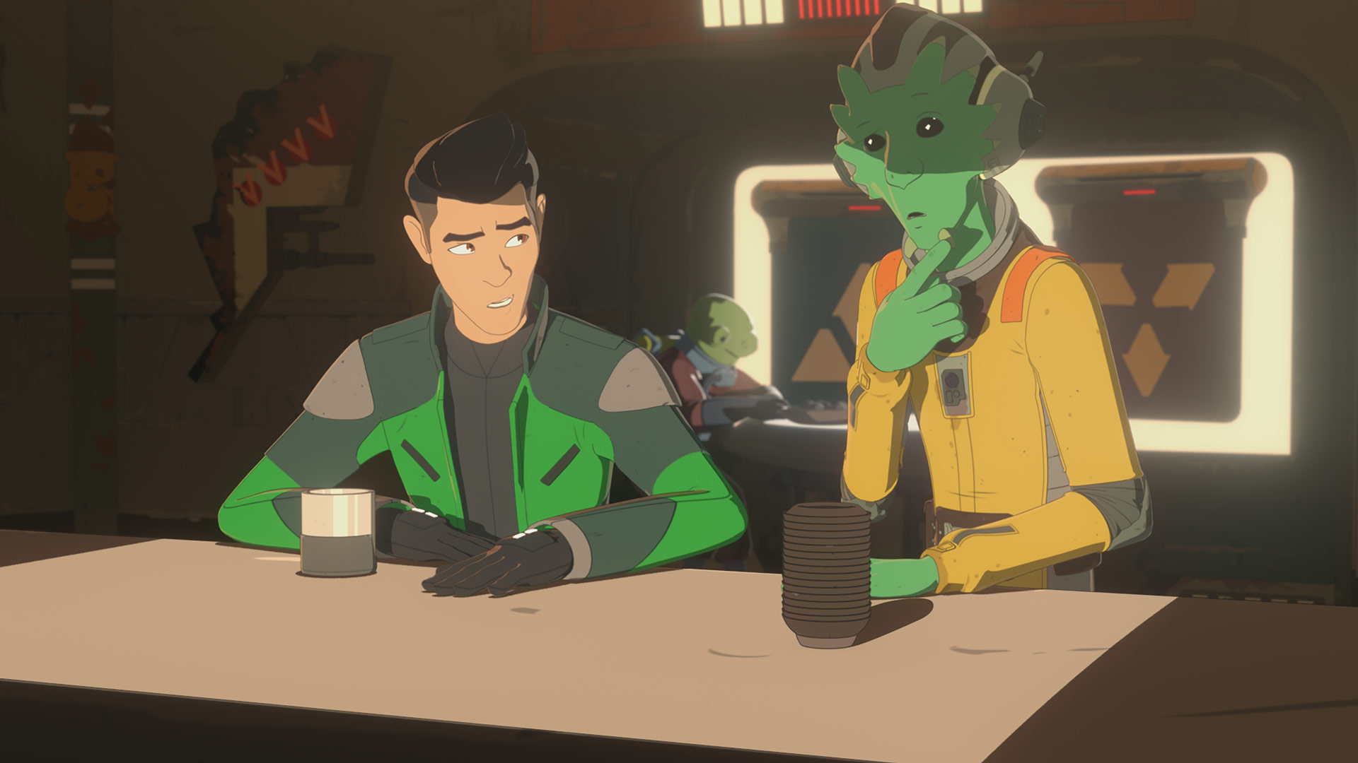 Kaz and Neeku at Aunt Z's in Star Wars Resistance.