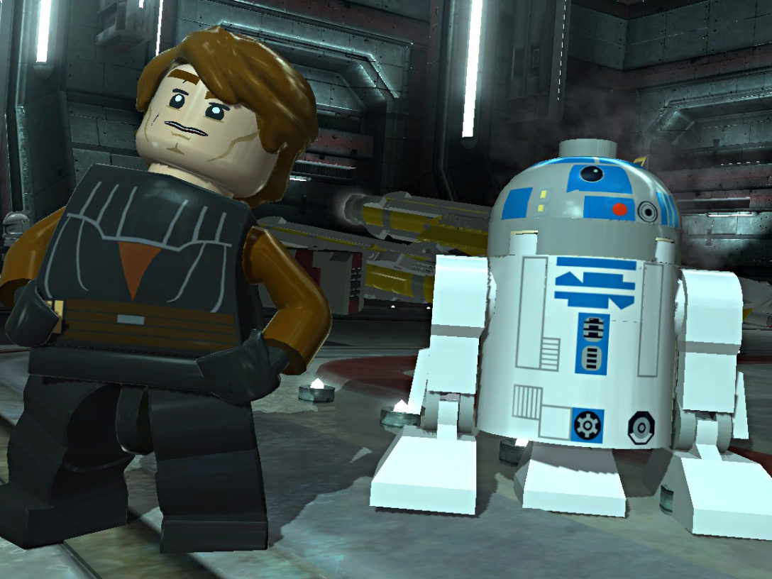 Anakin Skywalker and R2-D2 in LEGO Star Wars III: The Clone Wars.