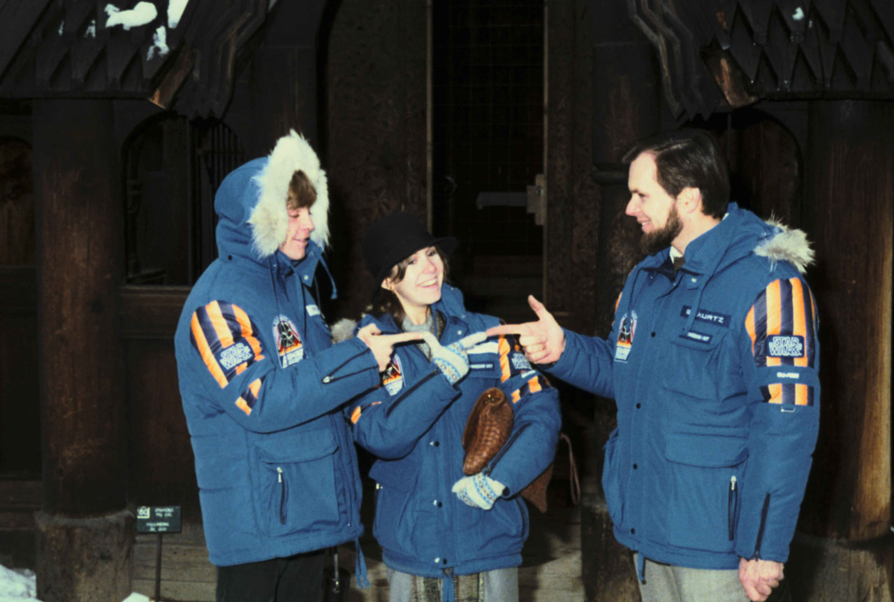 Mark Hamill, Carrie Fisher, and producer Gary Kurtz in their Empire crew parkas.
