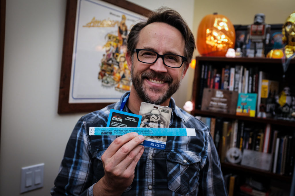 Pete Vilmur of Lucasfilm with his Star Wars Celebration Orlando badge and ticket and wristband for the 40th anniversary panel.