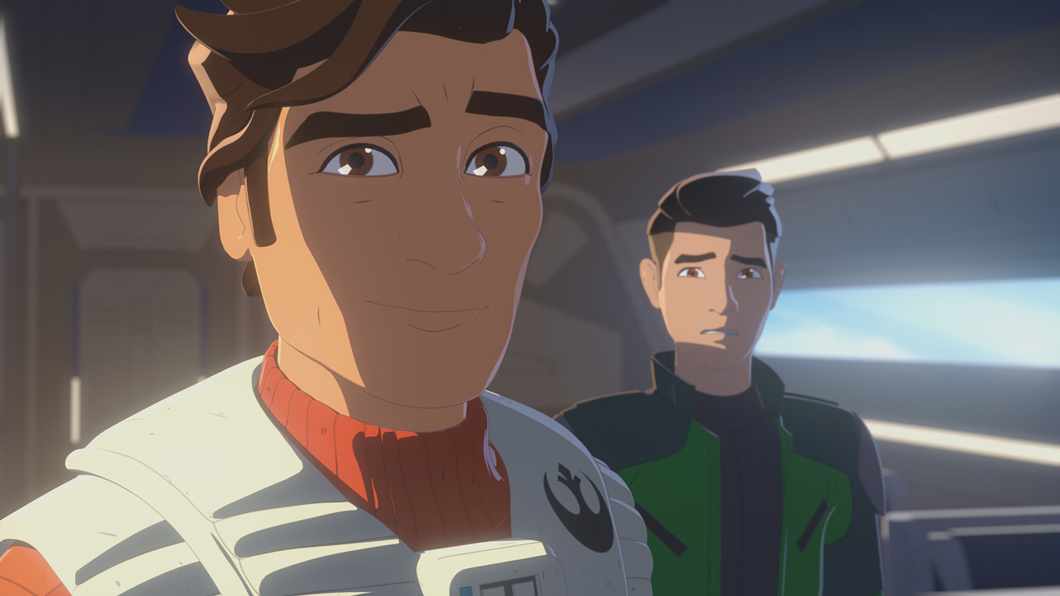 Poe Dameron and Kazuda Xiono aboard a Resistance transport