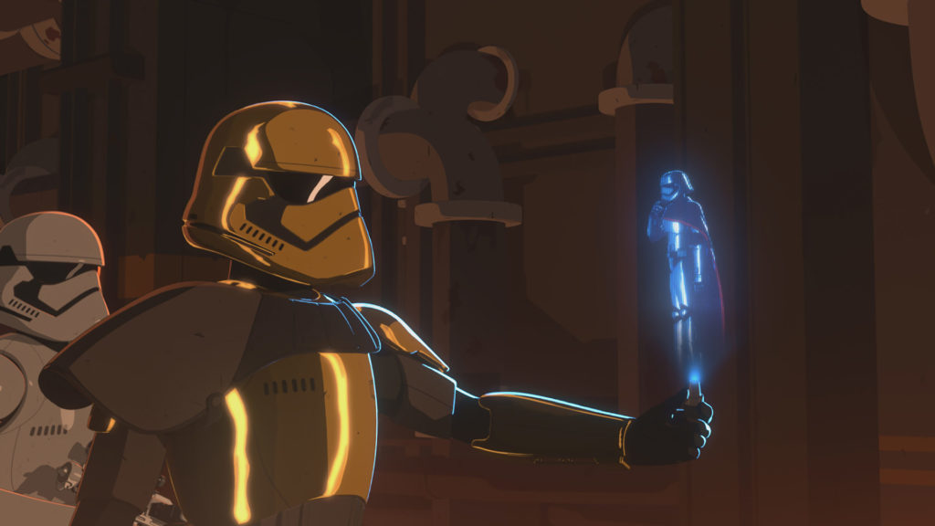 Commander Pyre speaks with Captain Phasma in Star Wars Resistance.