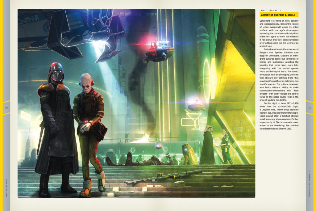 A spread depicting an arrest from the book Star Wars: Scum and Villainy.