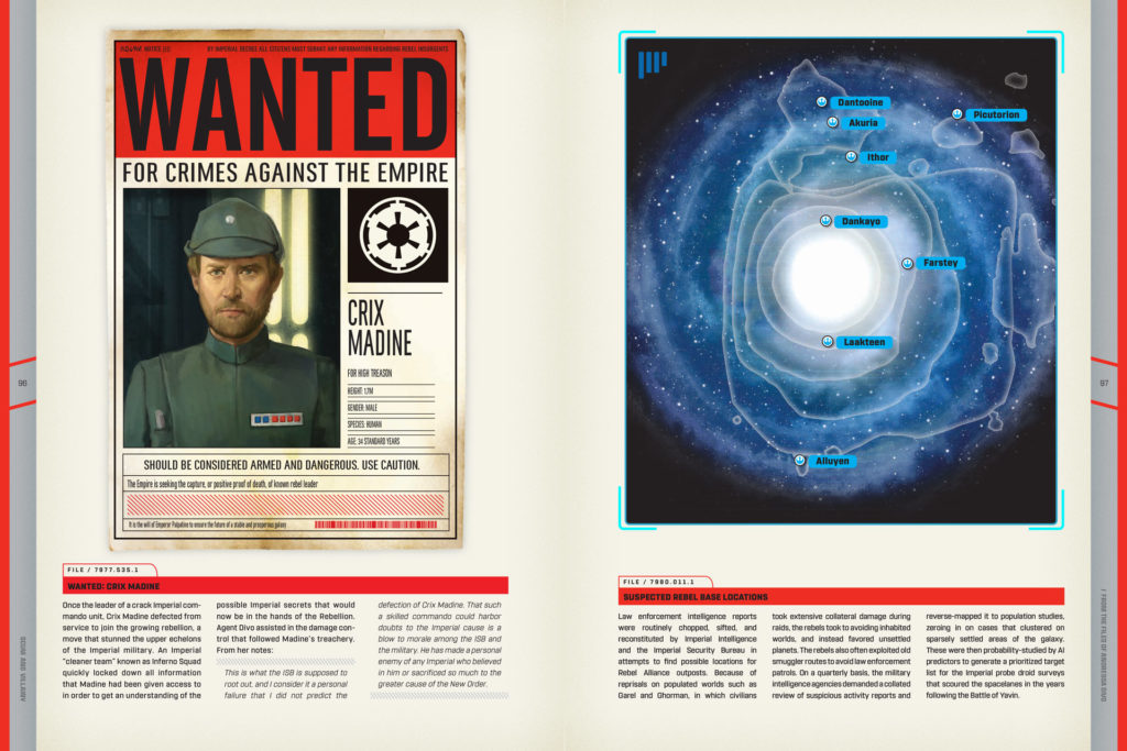 A spread from the book Scum and Villainy featuring a wanted poster.