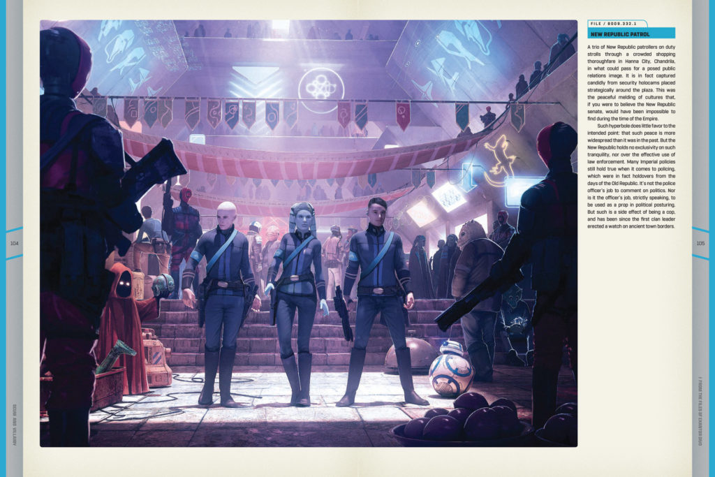 Spread from the book Scum and Villainy depicting three police officers in a cantina.