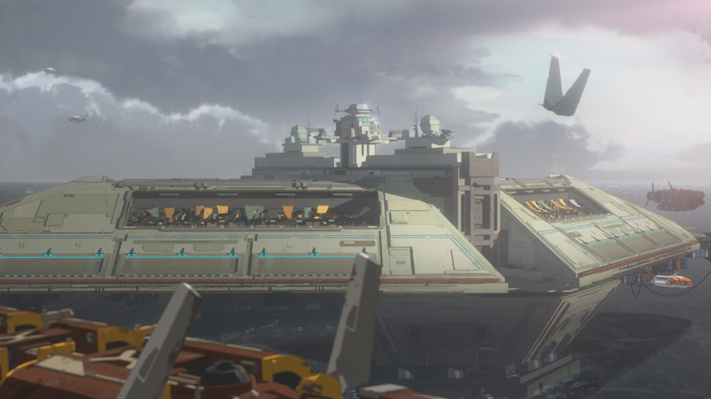 Captain Pyre's shuttle approaches the Colossus in Star Wars Resistance.