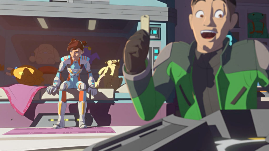 Torra, Kaz, and Torra's plush toys in her room in Star Wars Resistance.