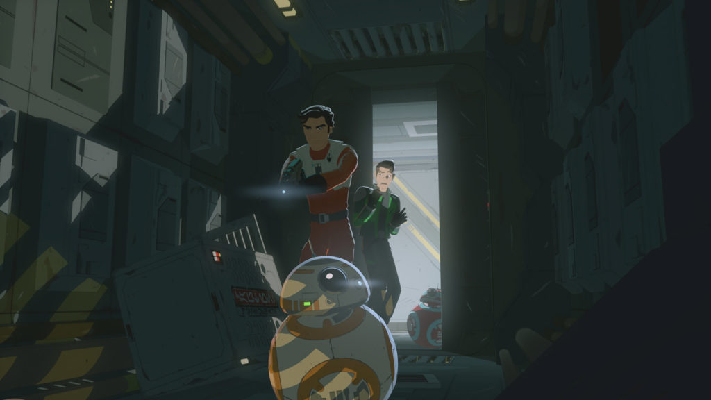 Poe and Kaz in a derelict freighter in Star Wars Resistance.