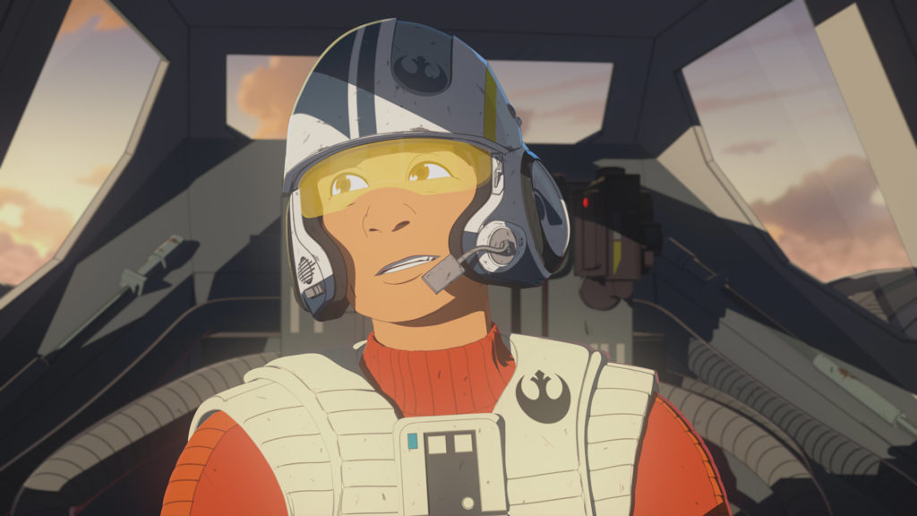 Poe Dameron in his X-wing cockpit in Star Wars Resistance.