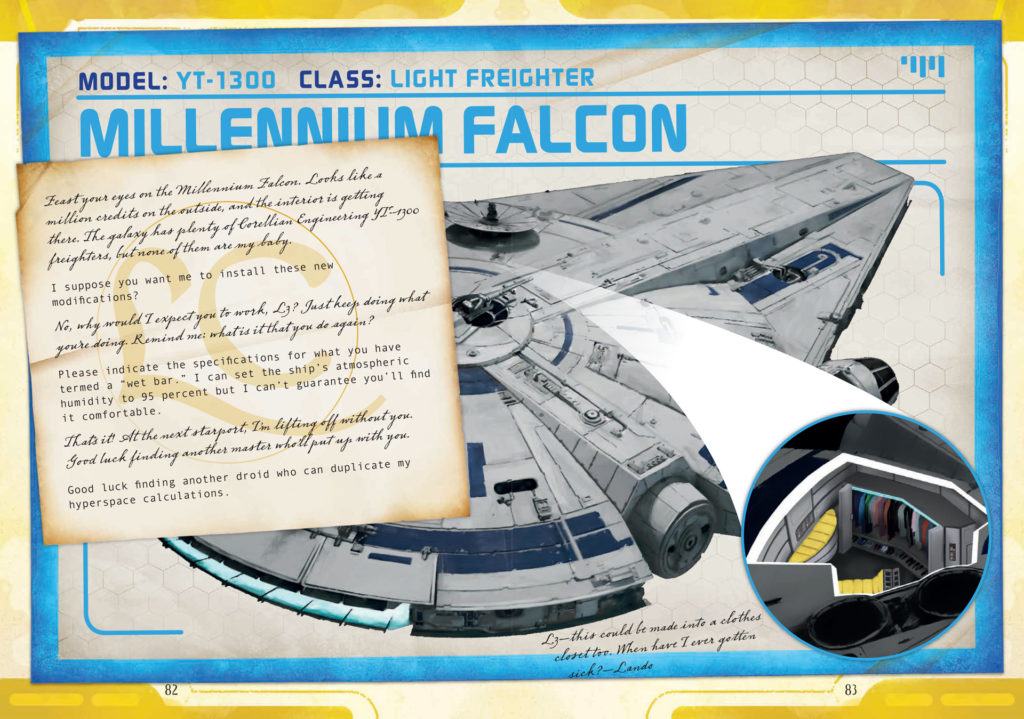 An illustration of Lando's Millennium Falcon in Star Wars: Smuggler's Guide.