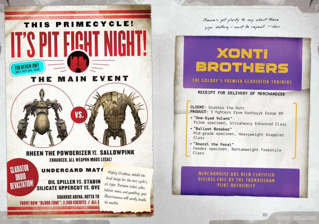 Posters announcing a droid fight in Star Wars: Smuggler's Guide.