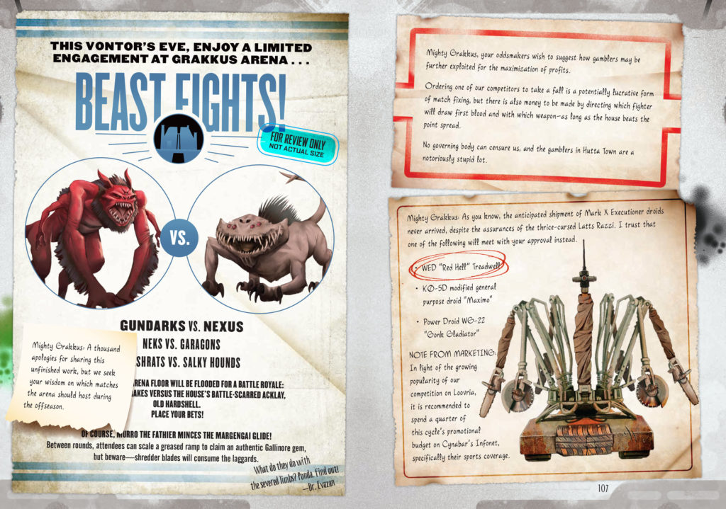 Posters announcing a beast fight in Star Wars: Smuggler's Guide.