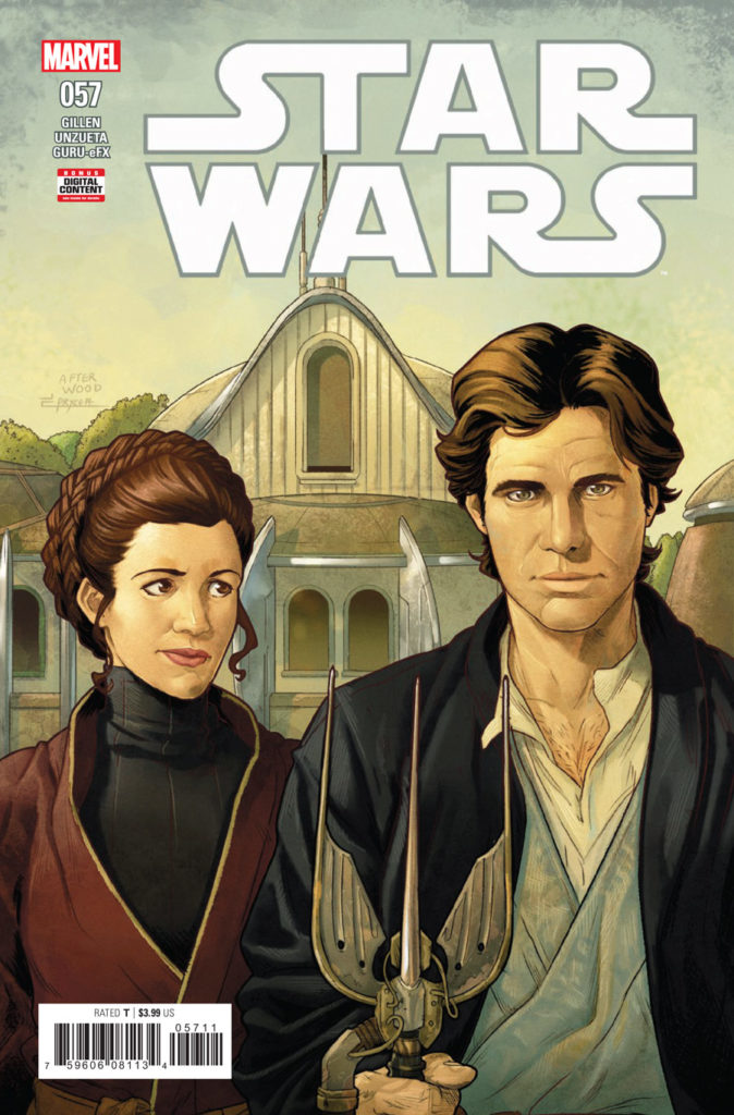 Star Wars #57 cover, featuring Han and Leia in a parody of American Gothic.