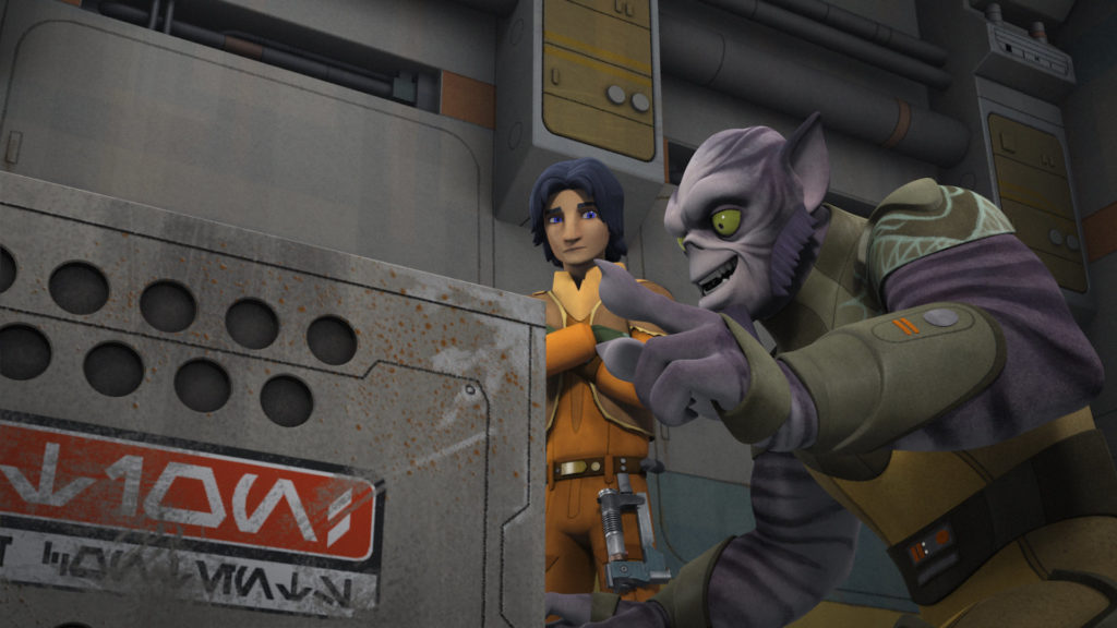 Ezra and Zeb with a puffer pig crate in Star Wars Resistance.