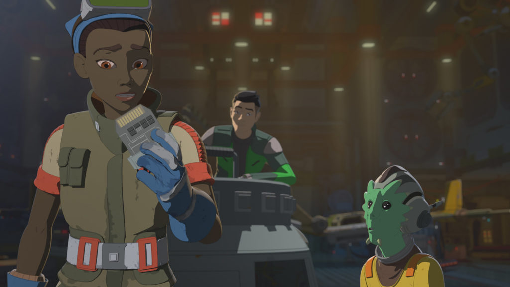 Tam holds a CoMar tri-tracker trip in Star Wars Resistance.