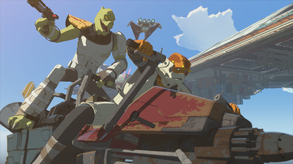 A 2-seated swoop bike in Star Wars Resistance.