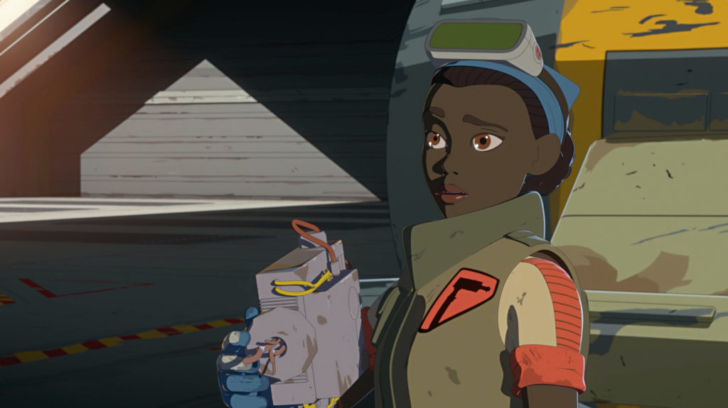 Tam with an acceleration compensator in Star Wars Resistance.