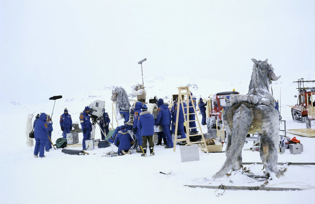 The crew shoots Empire's opening scene, while a tauntaun waits its turn.