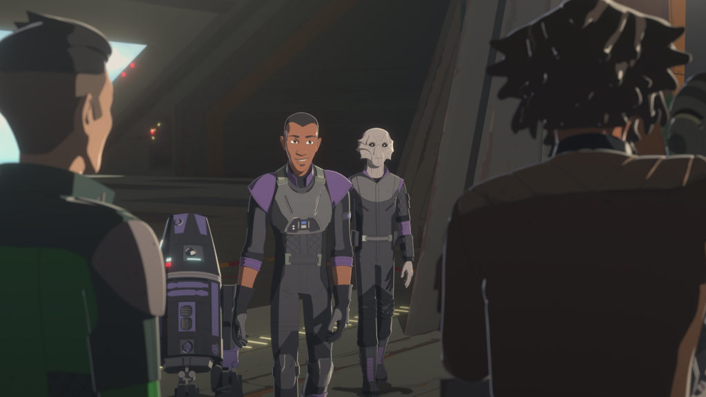 Marcus Speedstar approaches Yeager in Star Wars Resistance.