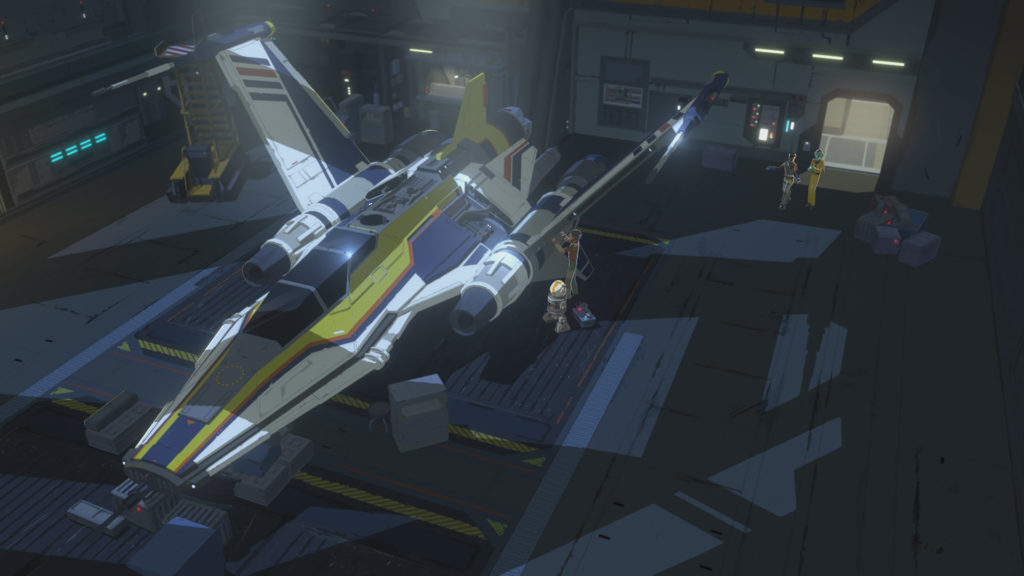 Yeager's ship and personal garage in Star Wars Resistance.